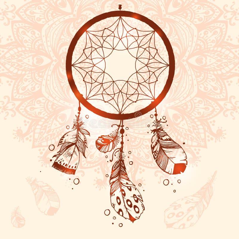 手拉的传染媒介当地美洲印第安人护符dreamcatcher w 库存例证
