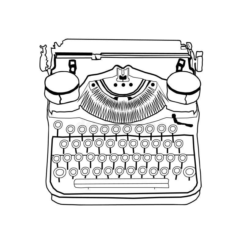 手拉的传染媒介打字机 向量例证