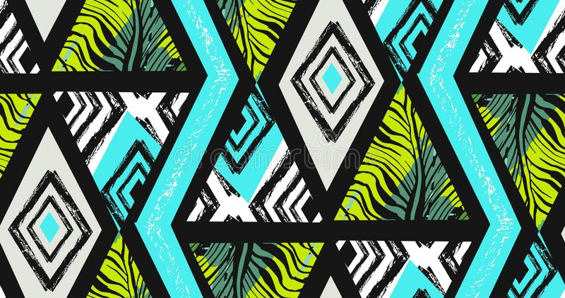 手拉的传染媒介摘要徒手画构造了与斑马主题,有机纹理的无缝的热带样式拼贴画 皇族释放例证