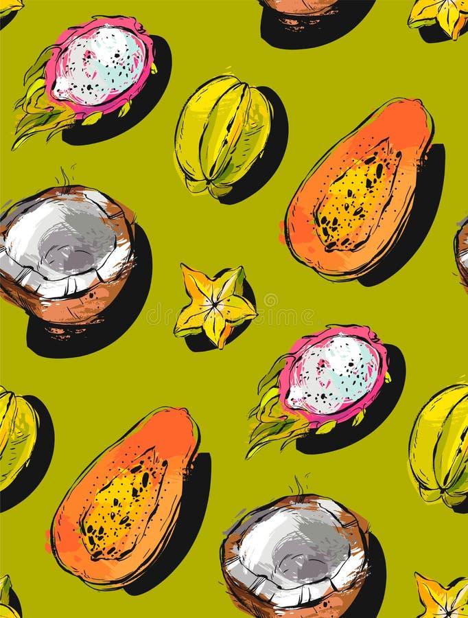 手拉的传染媒介摘要徒手画构造了异常的无缝的样式用异乎寻常的热带水果番木瓜,龙果子 向量例证