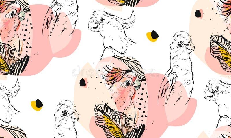 手拉的传染媒介摘要构造了与异乎寻常的热带鹦鹉的图表无缝的样式拼贴画在淡色 皇族释放例证
