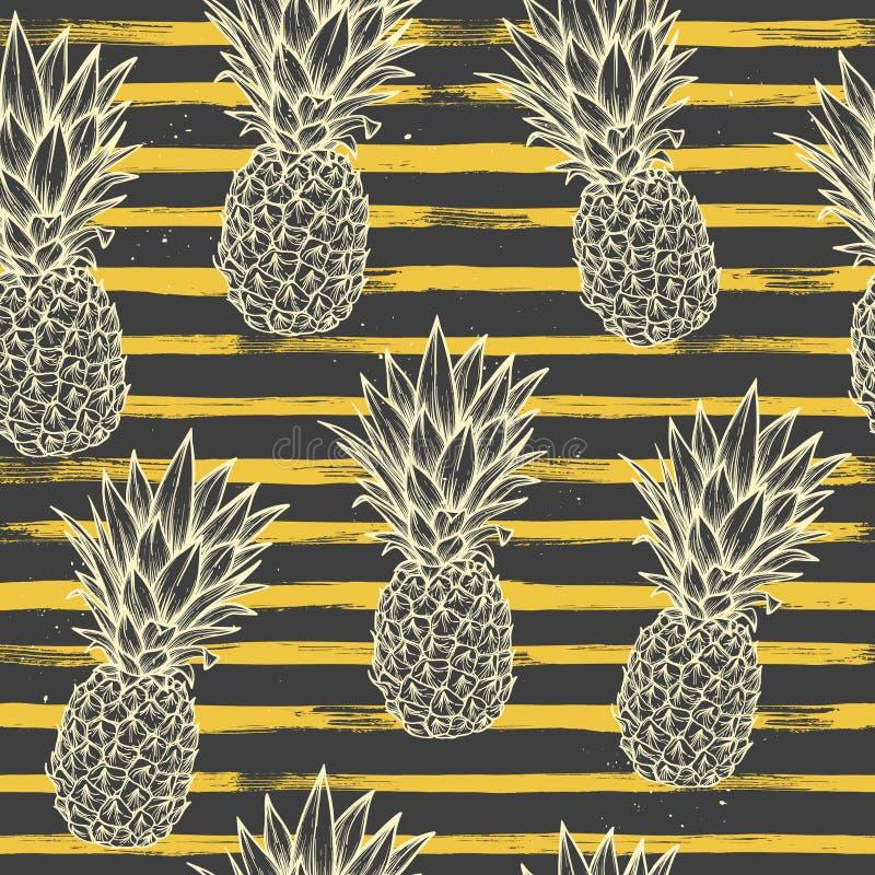 手拉的传染媒介无缝的样式-与镶边的后面的菠萝 库存例证
