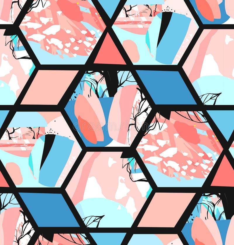 手拉的传染媒介艺术性的普遍性构造了与花卉六角形形状、纹理和自然的抽象无缝的样式 库存例证