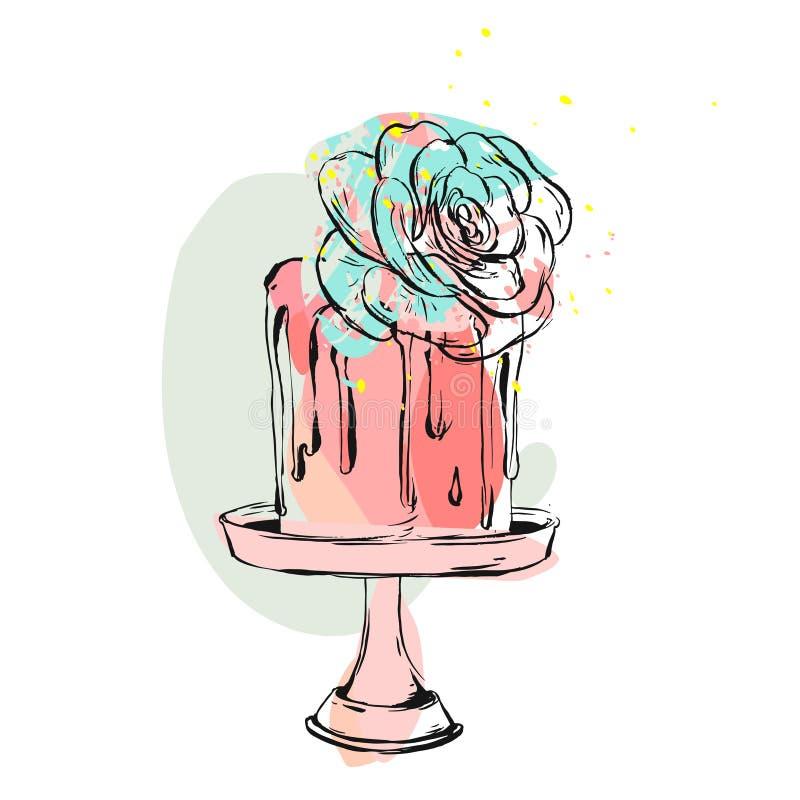 手拉的传染媒介逗人喜爱的生日或婚礼拼贴画例证与蛋糕和多汁花装饰在蛋糕站立 皇族释放例证