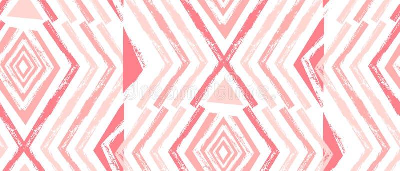 手拉的传染媒介那瓦伙族人无缝的样式 在白色背景在淡色的阿兹台克抽象几何印刷品隔绝的 库存例证