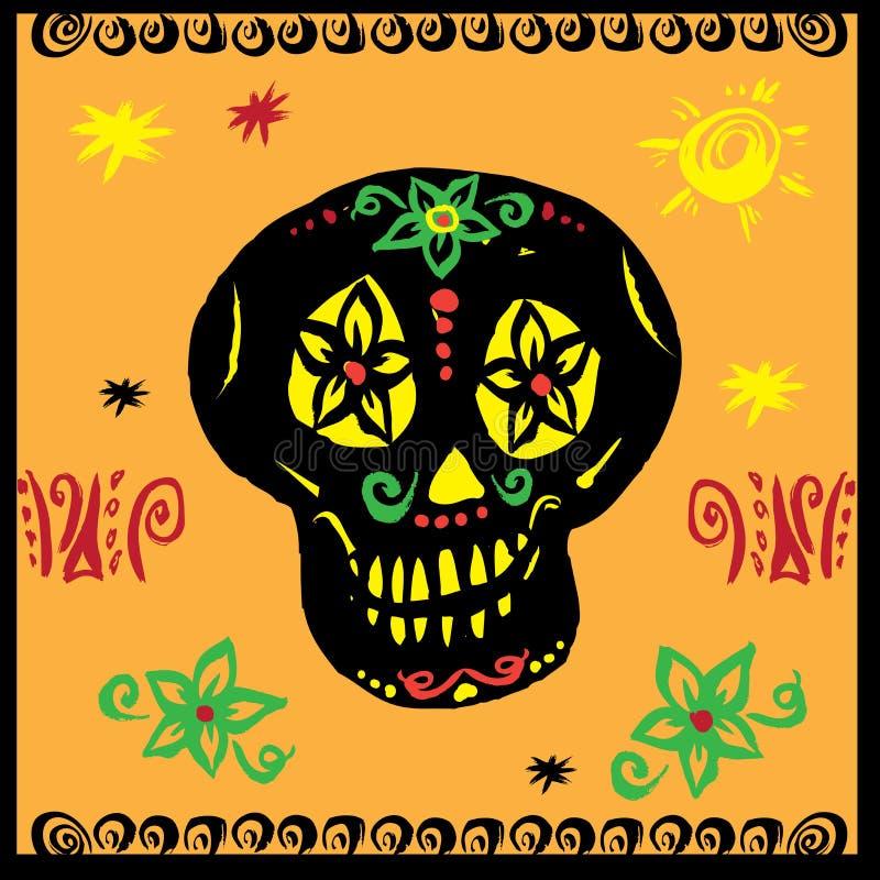 手拉的传染媒介,墨西哥skul 皇族释放例证