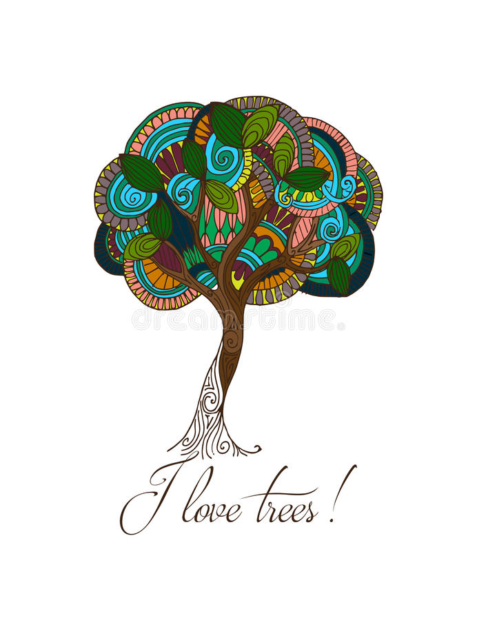 手拉的例证 抽象五颜六色的结构树 明信片我爱护树木 皇族释放例证