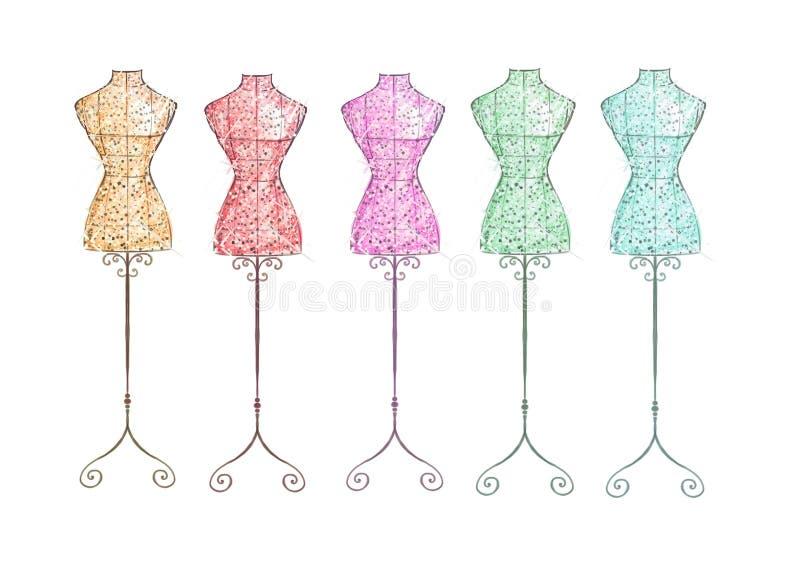 手拉的例证-时尚时装模特-彩虹颜色 皇族释放例证
