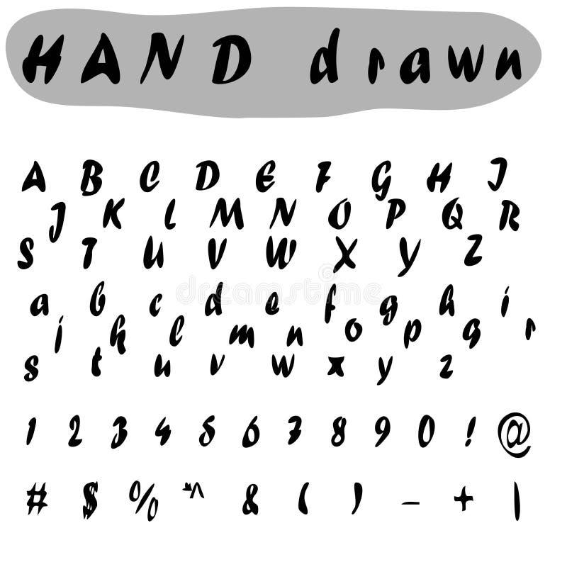 手拉的信件,葡萄酒传染媒介字母表ABC 您的设计的好的字体 背景明亮的例证桔子股票 向量例证