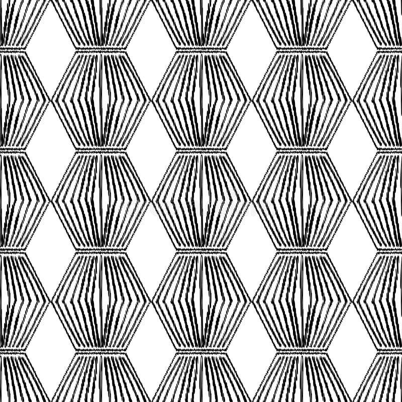 手拉的六角形无缝的黑白背景  排行笔纹理  向量例证