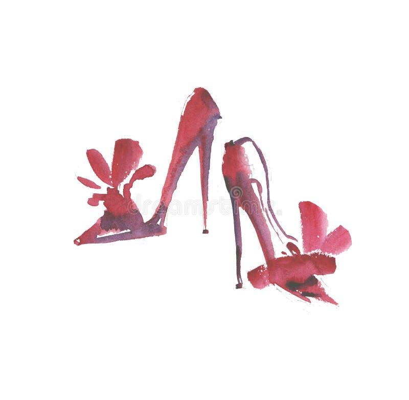 手拉的典雅的昂贵的鞋子例证 皇族释放例证