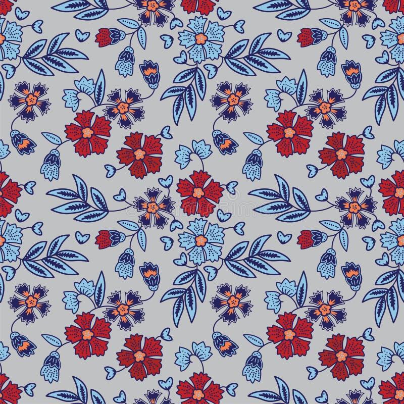 手拉的典雅的花卉蜡染布样式 免版税库存图片
