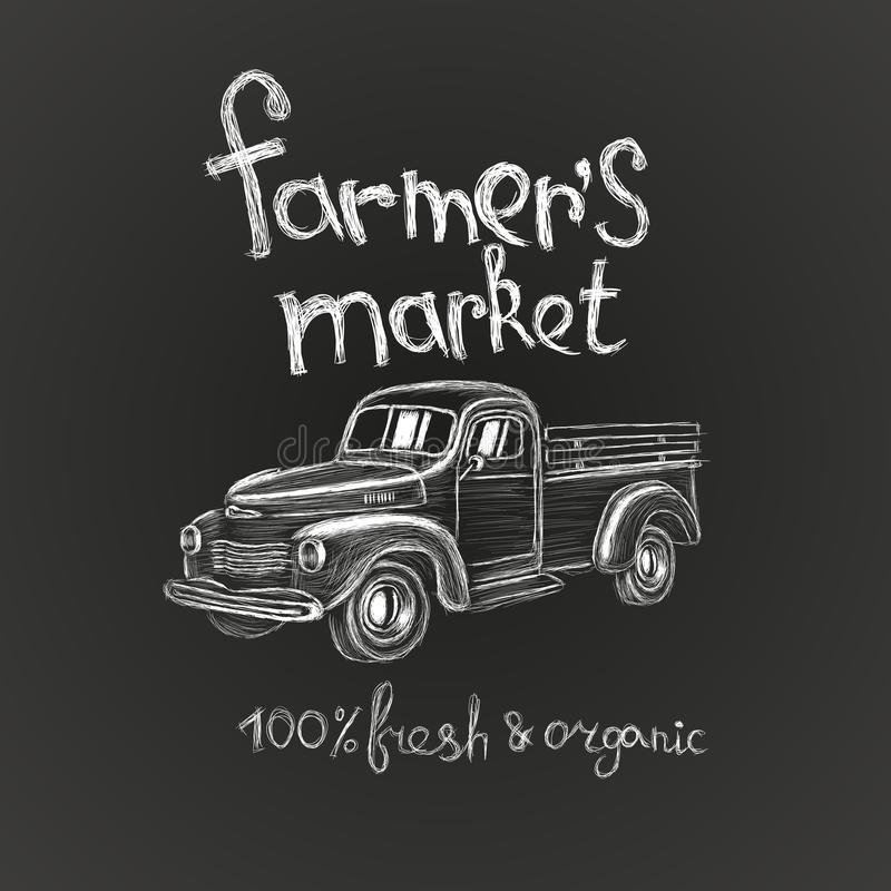 手拉的农夫` s市场海报飞行物商标广告证章与葡萄酒卡车的邀请卡片 向量例证