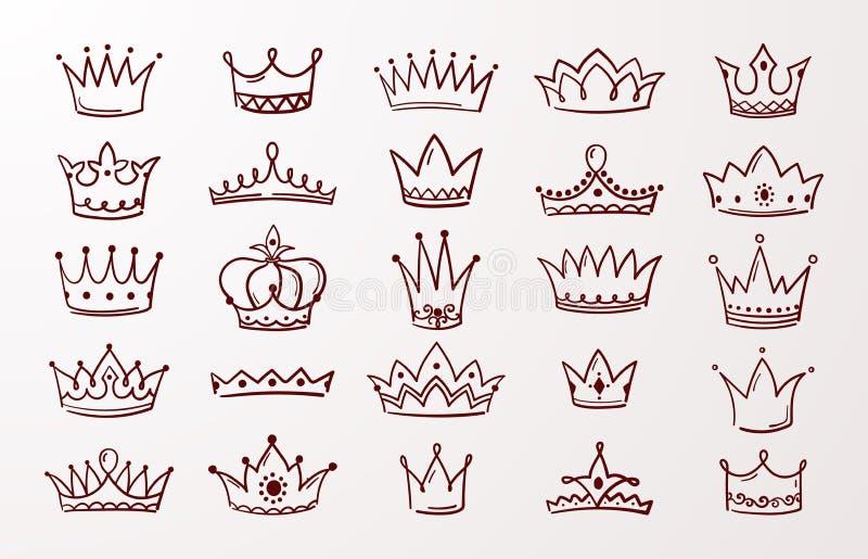 手拉的冠集合 速写女王/王后或国王秀丽乱画冠 传染媒介葡萄酒墨水珠宝冠状头饰隔绝了象 库存例证