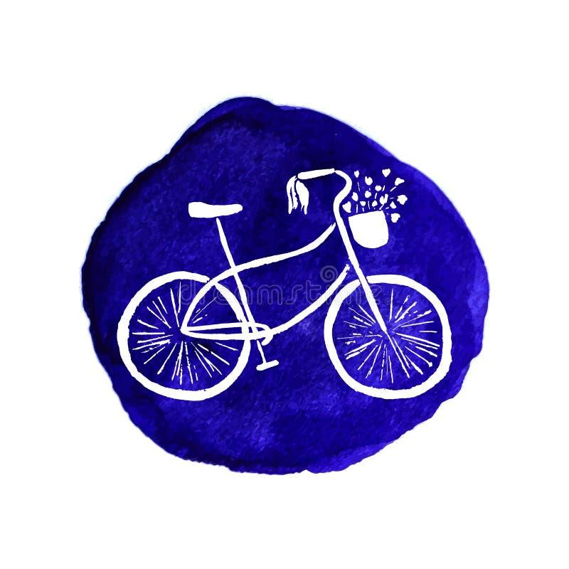手拉的减速火箭的样式自行车 多孔黏土更正高绘画photoshop非常质量扫描水彩 编辑可能的传染媒介格式 与花卉元素的逗人喜爱和时髦的ilustration Sp 皇族释放例证