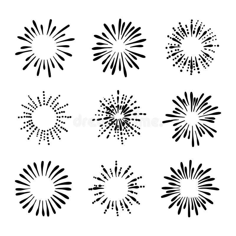 手拉的减速火箭的烟花图画的传染媒介汇集,黑白例证,墨水飞溅 向量例证