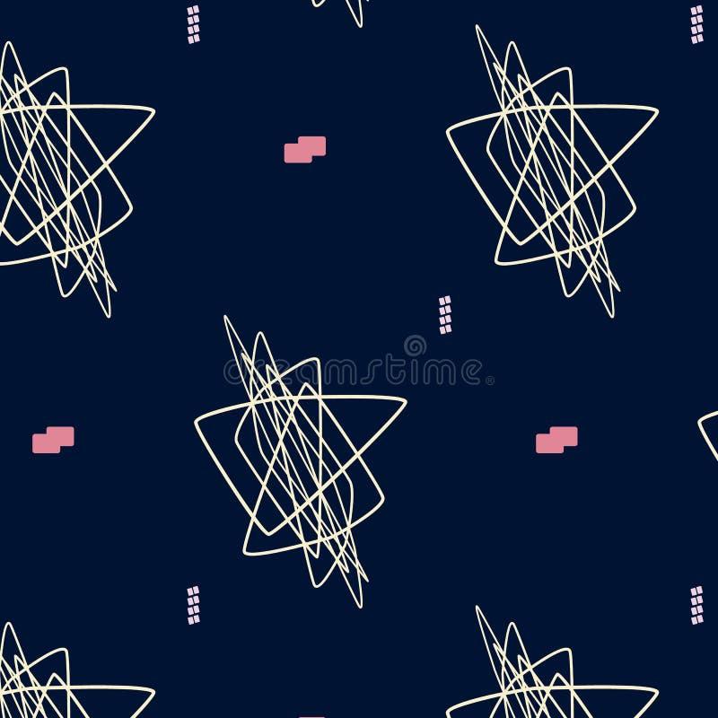手拉的几何行家时髦的样式 艺术轻的向量世界 柔和的淡色彩色的现代农庄混乱塑造墙纸 时髦 库存例证