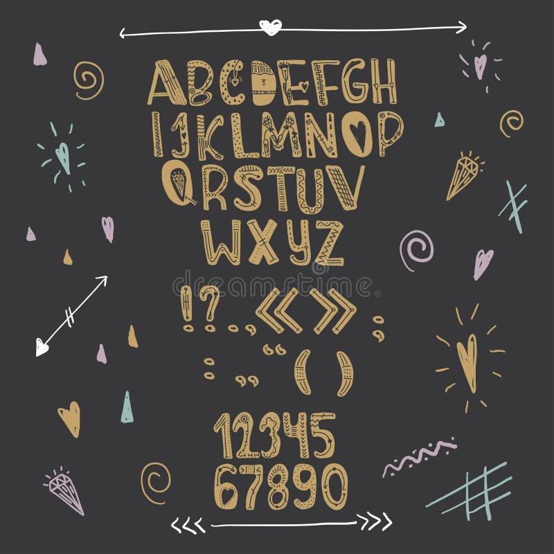 手拉的创造性的爱字母表 在黑背景的金信件 向量 库存例证