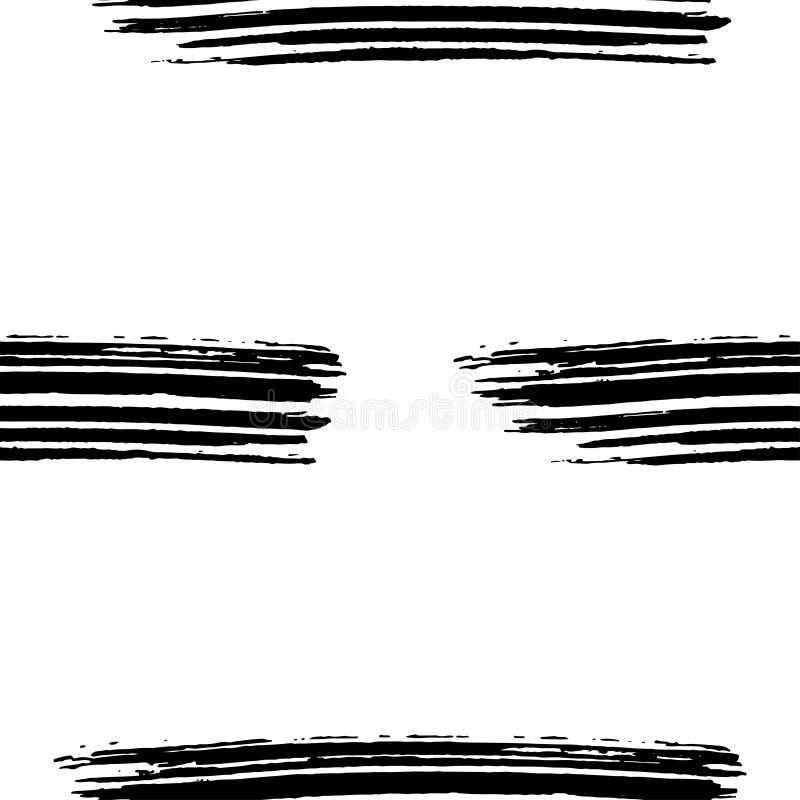 手拉的刷子墨水难看的东西黑白无缝的纹理 艺术品有抽象背景 向量例证