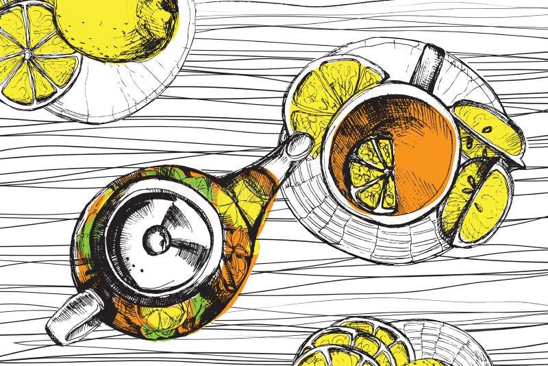手拉的剪影传染媒介茶具 库存例证