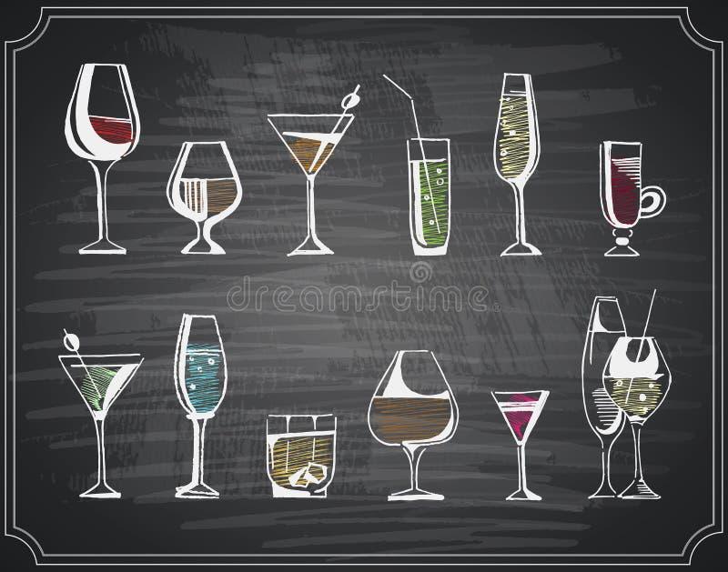 手拉的剪影套酒精饮料和鸡尾酒 也corel凹道例证向量 皇族释放例证