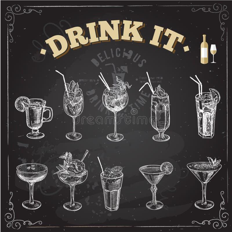 手拉的剪影套酒精鸡尾酒 也corel凹道例证向量 皇族释放例证