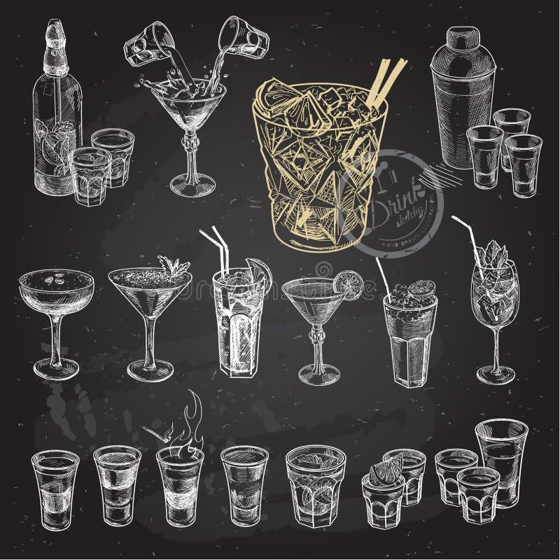 手拉的剪影套酒精鸡尾酒 也corel凹道例证向量 库存例证