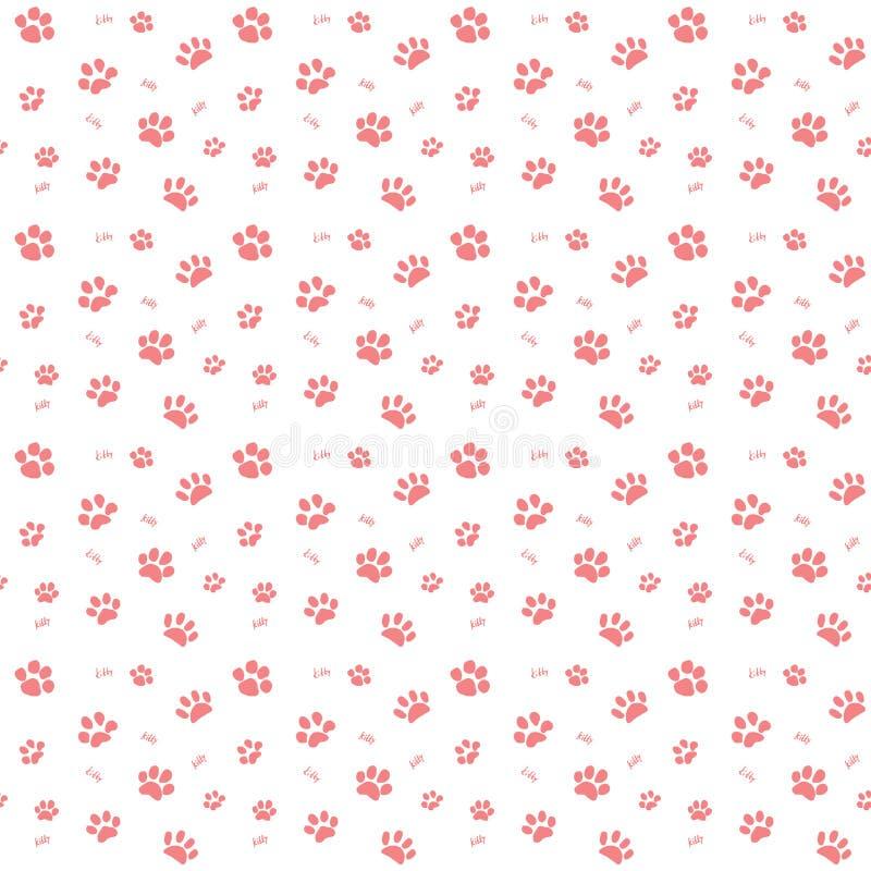 手拉的剪影猫爪子和踪影无缝的样式,传染媒介在白色背景隔绝的例证元素 库存例证