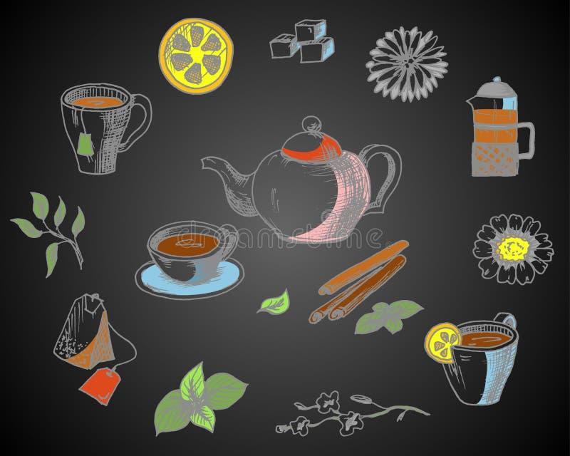 手拉的剪影的汇集在茶题材的  Caffe菜单设计 库存例证
