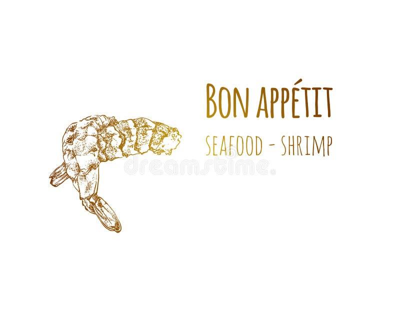 手拉的剪影葡萄酒海虾 食物剪影和厨房乱画 也corel凹道例证向量 向量例证
