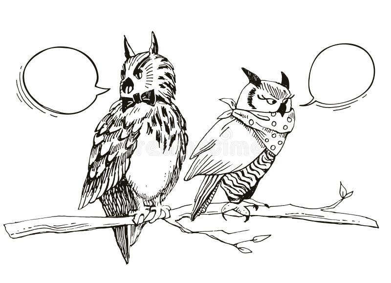 手拉的剪影逗人喜爱的动画片猫头鹰坐分支和谈话 背景例证鲨鱼向量白色 误解 皇族释放例证