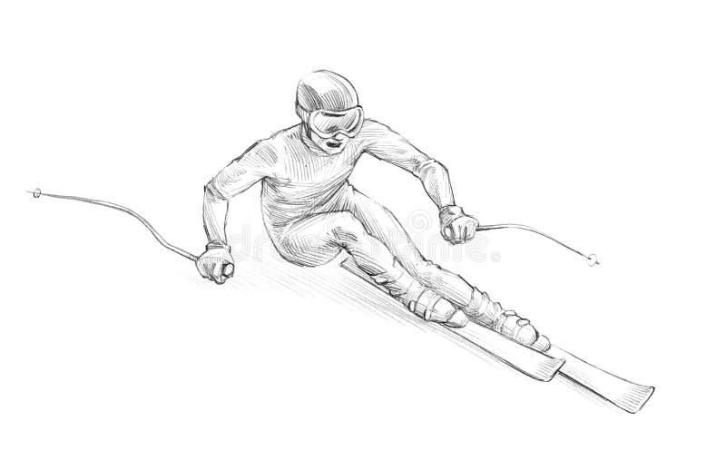 手拉的剪影,一个高山滑雪者Speedi的铅笔例证 库存例证
