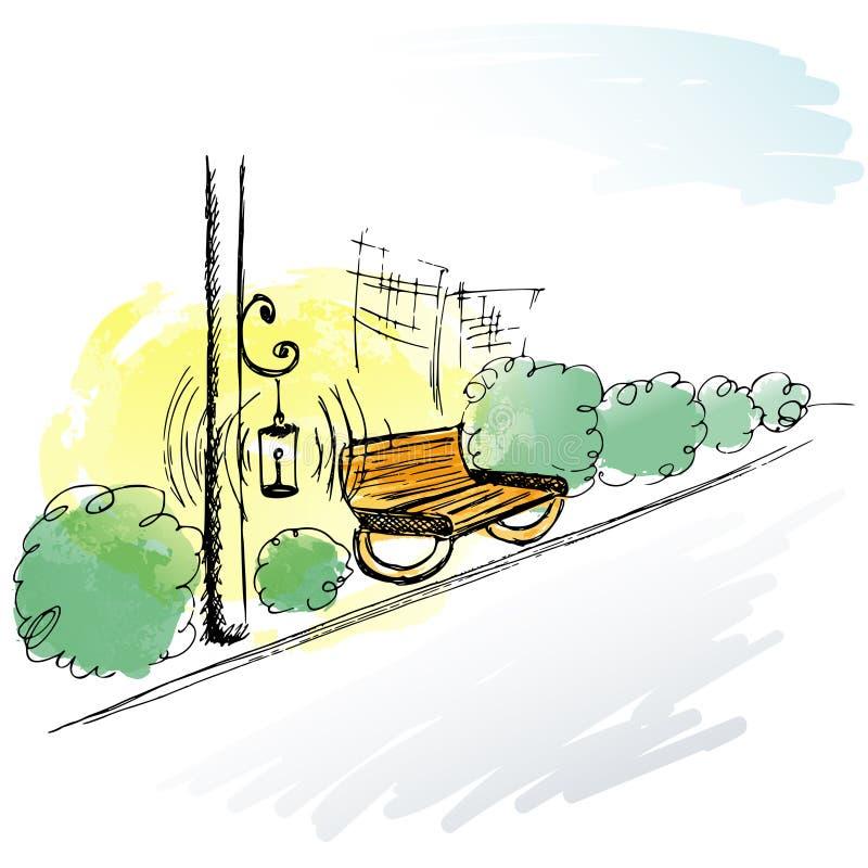 手拉的剪影 停放胡同、长凳、灯笼和灌木 向量例证