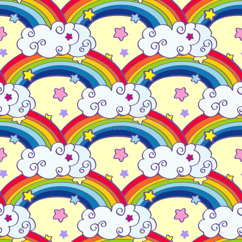 手拉的动画片彩虹、云彩和星无缝的样式 库存例证