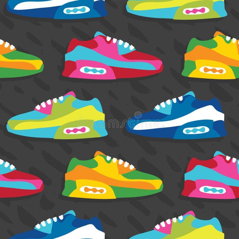 手拉的动画片样式运动鞋穿上鞋子传染媒介无缝的样式灰色 向量例证