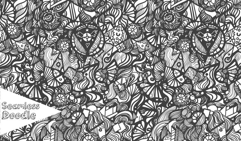 手拉的动画片幻想乱画无缝的样式 皇族释放例证