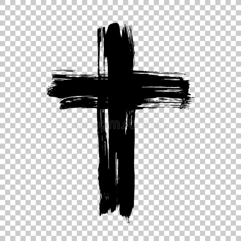 手拉的十字架 难看的东西十字架 用刷子冲程做的十字架 库存照片
