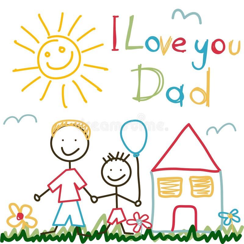 手拉的卡片为父亲节 向量例证