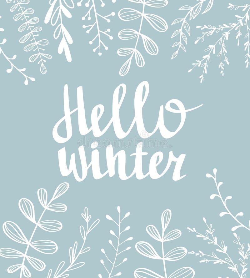 手拉的印刷术卡片 你好在蓝色背景的冬天手字法 库存例证