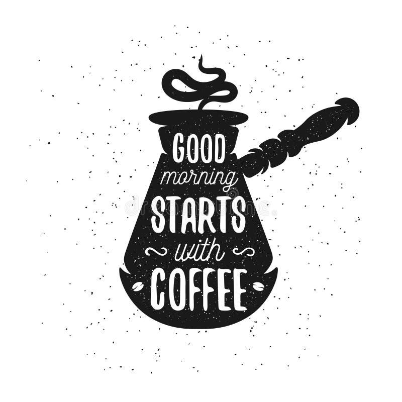 手拉的印刷术咖啡海报 向量例证