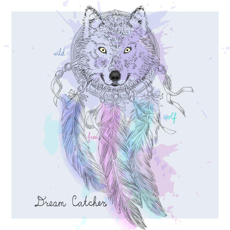 手拉的印地安装饰梦想俘获器狼 库存例证