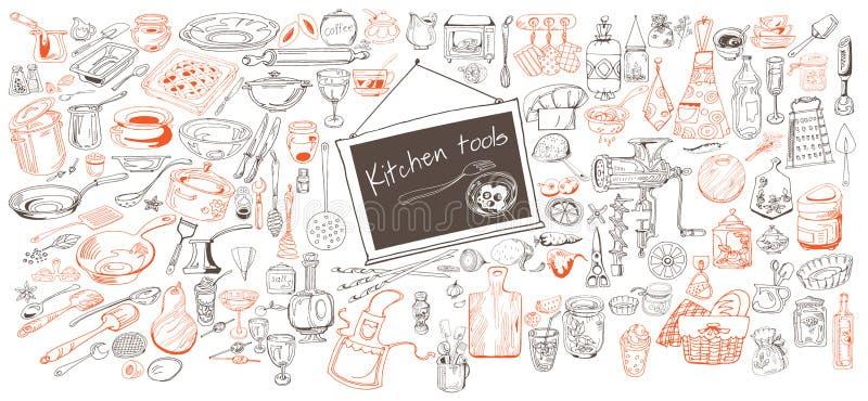 手拉的厨房象收藏 向量例证