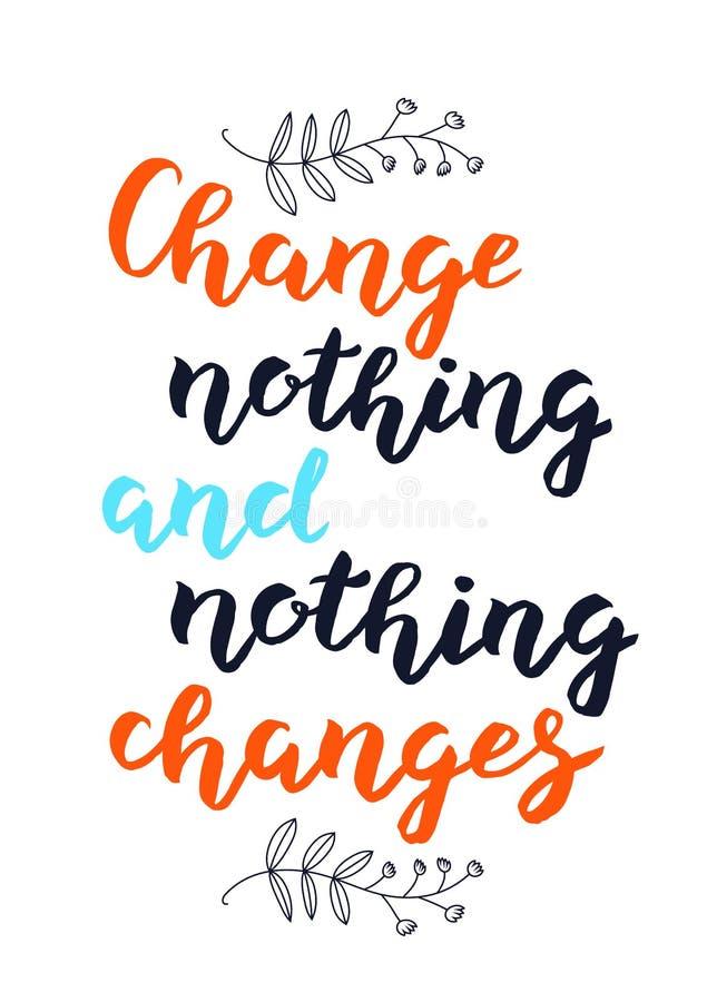 手拉的变动没什么和没什么改变印刷术字法海报背景 向量例证