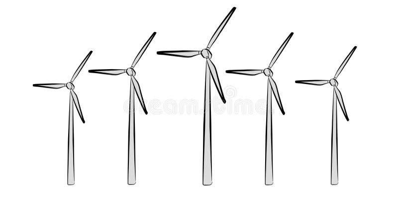 手拉的可再造能源剪影 向量例证