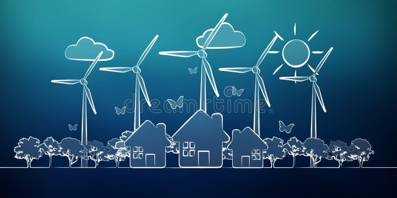 手拉的可再造能源剪影 库存例证