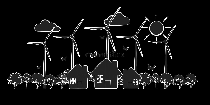 手拉的可再造能源剪影 皇族释放例证