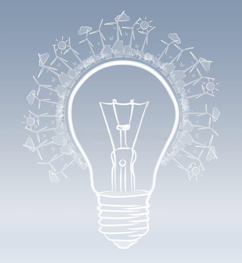 手拉的可再造能源电灯泡剪影 皇族释放例证