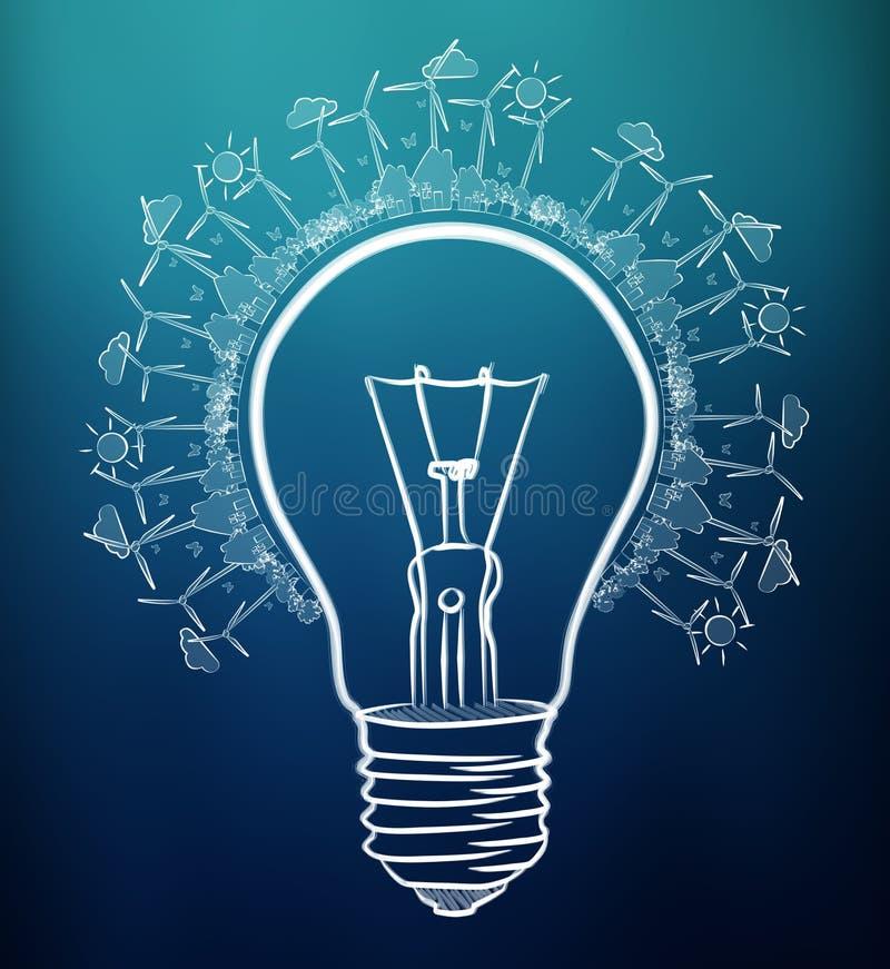 手拉的可再造能源电灯泡剪影 库存例证