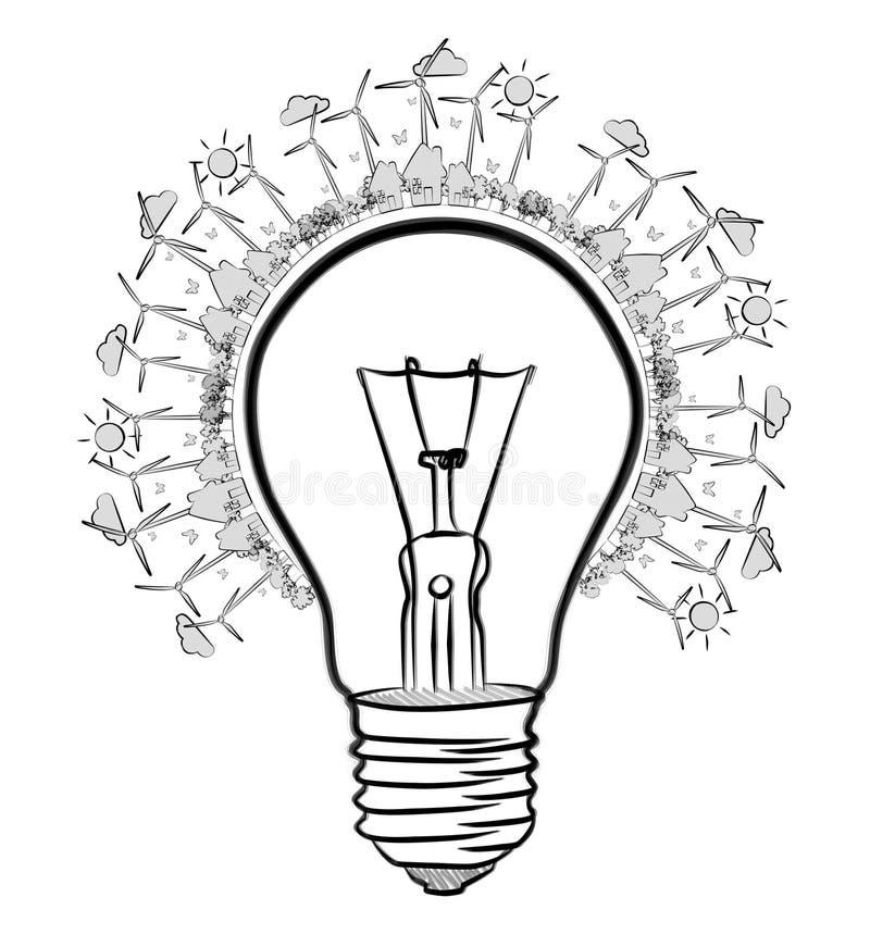 手拉的可再造能源电灯泡剪影 向量例证