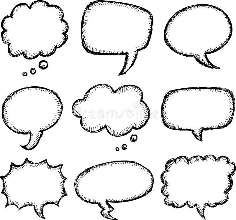 手拉的可笑的讲话泡影 库存例证